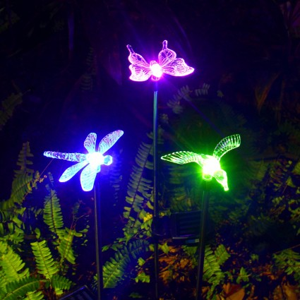 Oxyled | OxyLED Solar Garden Lights, 3 Pack Solar Stake Light Hummingbird  Butterfly Dragonfly, Solar Powered Pathway Lights, Multi Color Changing LED  Lights ...